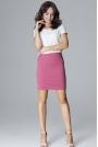 Różowa Ołówkowa Mini Spódnica z Ozdobnymi Przeszyciami