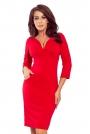 Czerwona Ołówkowa Sukienka z Ciekawym Dekoltem w Serek