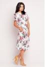 Prosta Sukienka Midi w Róże z Troczkami