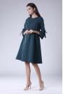Zielona Trapezowa Sukienka Wizytowa z Efektownym Rękawem
