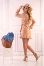 Camelowa Wizytowa Mini Sukienka z Falbankami