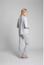 Bawełniana Koszula od Piżamy z Wypustkami - Popielata