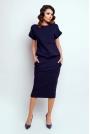 Granatowa Nowoczesna Sukienka Midi z Krótkim Rękawkiem