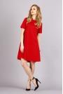Czerwona Trapezowa Wygodna Sukienka z Krótkim Rękawem