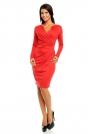 Czerwona Elegancka Dzianinowa Sukienka z Kopertową Górą z Długim Rękawem