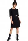 Czarna Minimalistyczna Sukienka O Linii A z Ozdobną Klamrą