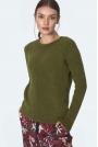 Gładki Sweter z Półkrągłym Dekoltem - Zielony