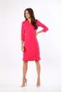 Ciemno Różowa Ołówkowa Sukienka z Ciekawym Dołem