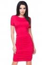 Czerwona Sukienka Bodycon Drapowana na Bokach
