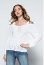 Biały Lekki Nietoperzowy Sweter ze Zmysłowym Dekoltem