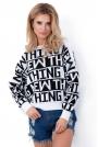 Biały Nietoperzowy Sweter z Napisami  NEW THING.