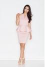 Różowa Koktajlowa Sukienka z Kopertowym Dekoltem z Baskinką