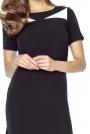 Czarna Prosta Sukienka przed Kolano z Rozporkami