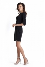 Czarna Dopasowana Mini Sukienka z Wycięciem przy Dekolcie