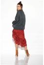 Zwiewna Asymetryczna Spódnica we Wzory Druk 1