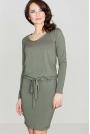 Zielona Wygodna Sukienka Midi z Troczkami w Talii