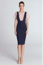 Fioletowa Ołówkowa Elegancka Sukienka z Szelkami
