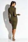 Oliwkowa Sukienka Ołówkowa z Wycięciami