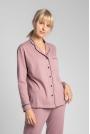 Bawełniana Koszula od Piżamy z Wypustkami  - Wrzosowa