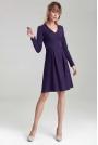 Trapezowa Sukienka z Długim Rękawem - Fioletowa