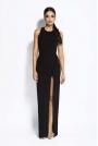 Czarna Sukienka Elegancka Maxi Długim Rozporkiem