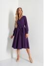 Rozkloszowana Midi Sukienka z Kopertowym Dekoltem - Fioletowa