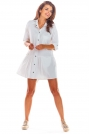 Biała Luźna Koszulowa Sukienka z Falbanką
