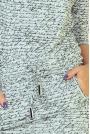 Jasnoszara Sukienka Ściągana w Napisy