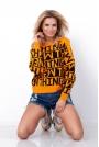 Pomarańczowy Nietoperzowy Sweter z Napisami  NEW THING.