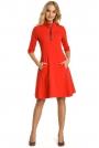 Czerwona Sukienka z Półgolfem na Suwak