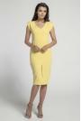 Żółta Elegancka Dopasowana Sukienka z Ozdobną Aplikacją
