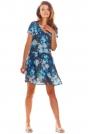 Granatowa Zwiewna Sukienka w Kwiatowy Wzór z Dekoltem V
