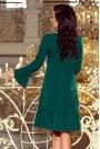 Zielona Wizytowa Sukienka Trapezowa z Falbankami