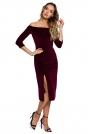 Welurowa Sukienka Ołówkowa ze Zmysłowym Dekoltem - Bordowa