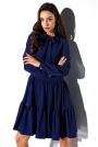 Granatowa Stylowa Sukienka Wiązana pod Szyją