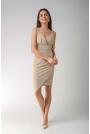 Beżowa Asymetryczna Sukienka z Dekoltem V na Cienkich Ramiączkach