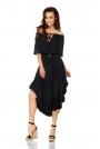 Czarna Zwiewna Asymetryczna Sukienka z Koronkowym Paskiem