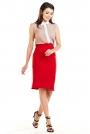Czerwona Dopasowana Spódnica z Ozdobnymi Plisami
