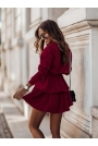 Komplet Bluza + Krótka Spódnica - Bordowy