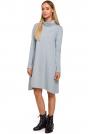 Szara Asymetryczna Trapezowa Sukienka z Golfem
