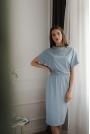 Niebieska Sukienka Midi z Krótkim Kimonowym Rękawem