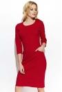 Czerwona Prosta Dzianinowa Sukienka z Kieszeniami
