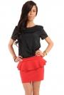 Czerwona Mini Spódnica z Baskinką