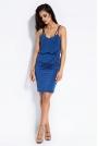 Niebieska Sukienka Mini na Cienkich Ramiączkach z Gumką w Talii