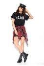 Czarny Bawełniany T-shirt z Napaisem ICON