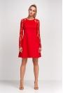 Czerwona Wizytowa Trapezowa Sukienka z Długim Koronkowym Rękawem