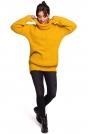 Miodowy Oversizowy Sweter-Tunika z Golfem