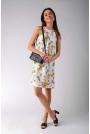 Trapezowa Sukienka w Żółte Kwiaty Wiązana na Karku