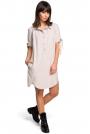 Beżowa Koszulowa Sukienka Tunika z Wiązaniem na Rękawach