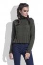 Oliwkowy Sweter Krótki z Wysokim Golfem